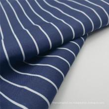 Tejidos de moda Pongee de poliéster estampado a rayas azul marino