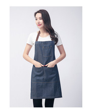 Denim apron hanging neck blue denim custom LOGO