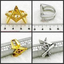 Stainless Steel Anxiously Gift Men Gold Masonic Ring