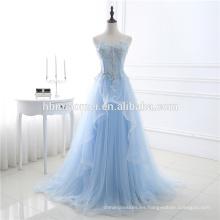 Color puro de alta calidad azul claro gasa vestido de fiesta de la boda sin respaldo real de la dama de honor largo vestido de noche 2017