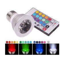 3W RGB LED Spotlight lâmpada com controle remoto