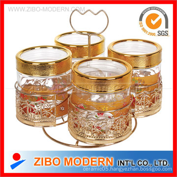 Glass Conister with Golden Printing