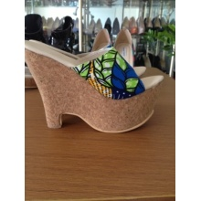 2016 New African Printed Fabrics Fashion Wedge Heel Shoes (HCYS06-03)