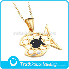 TKB-JP0169 Precioso colgante en forma de pez de acero inoxidable con forma de pez para niños de oro