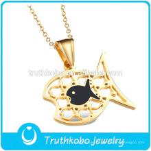 TKB-JP0169 lindo ouro crianças jóias em aço inoxidável em forma de peixe pingente