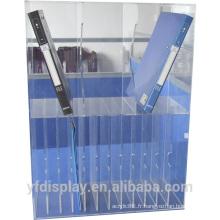 Organisateur de fichier acrylique transparent de dix étagères