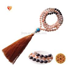 Мода 108 Йога Лунный Камень Солнечный Камень Мала Бусины Кисточкой Ожерелье