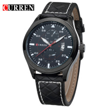 Casual Genuine Leather Men Quartz Wristwatch