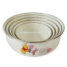 5 pc enamel bowl with PE lids & cute bear enamel ice bowl