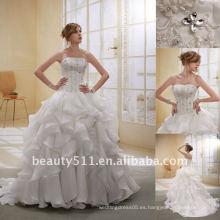 Astergarden moda capas de cuentas Organza Trail vestido de novia GownAS009