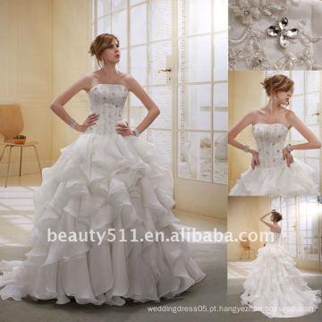 Astergarden Fashionable Beading Camadas Organza Trail Vestido de casamento nupcial GownAS009