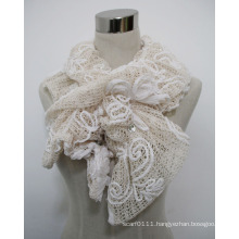 Lady Fashion Polyester Lace Scarf with Acrylic Diamonds