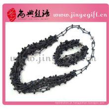 Colar de cordão encerado frisado de cristal preto cores