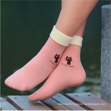 Women′s Cotton Socks with Turn-Over Welt (WA055)