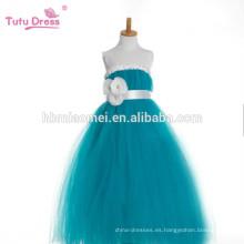 Vestido de fiesta de las muchachas Vestido de tutú con cintas Vestido de pianos de fajas Vestido de princesa de niña de flores de tul verde para niños Actuación del desfile