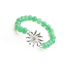 Green Aventurine Gemstone Bracelet with Diamante alloy Sun Piece