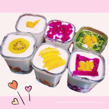 Food Packaging Very Cheaper Wide Mouth Glass Square Shape Pudding Bottle