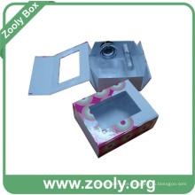 Caja de cartón rígido de cartón plegable cosméticos con ventana