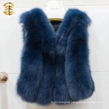 2017 Warm winter elegant women gilet real fox fur waistcoat