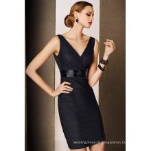 V Neck Sequin Belt Ruched Short Black Ladies Cocktail Dress