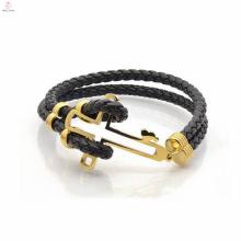 2017 nova moda quente pulseira de aço inoxidável de couro para homens