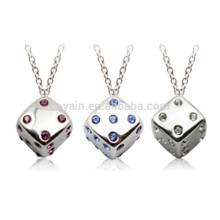 Jóias Artificiais 3D Silver Metal Dice Necklace