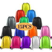 15PCS Multicolor Drawstring Backpack Bag Cinch Sack Pull String Bags Bulk