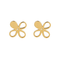 E-682 xuping fashion 24k gold color stainless steel flower shape ladies stud earrings