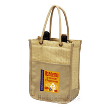 Hand Woven Straw Double Bottle Wine Tote Bag (hbst-34)
