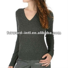 customized women's classic V neck cashmere pullover