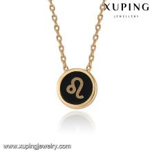 43387 conceptions de collier en or de vente chaude à la mode en 2 grammes délicat collier de bijoux plaqué or leo simple