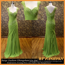 2016 мода зеленое красивое вечернее платье вечернее платье вечернее платье Леди платье для полных женщин