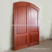 Finished product house front main double door design made of red oak wood flat solid wood doors