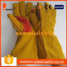 Guantes de seguridad de guante de soldador reforzado de piel dividida de vaca amarillo -Dlw410