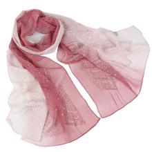 Самый последний дизайн Два тона цвета embroidery моды шелковый шарф с блестками