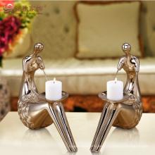 Sostenedor de vela de la resina del deco de la boda al por mayor para la decoración casera
