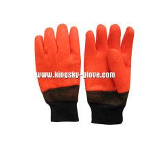 Gant chimique d'hiver de PVC de revêtement de mousse de finition sablonneuse-5124.01