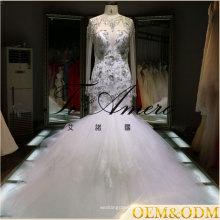 2017 рюшами из органзы с длинным рукавом кружева открытой спиной русалка свадебное платье формы для сексуальная женщина