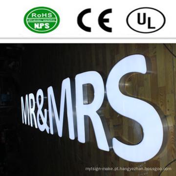 Sinais acrílicos personalizados da letra de canal do Lit da parte dianteira do diodo emissor de luz