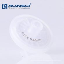 0.2um filtro de jeringa de teflón hidrofóbico de 0.45 micrómetros para uso en laboratorio