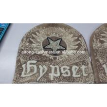 100% Cashmere Mütze mit Fuchspelz Pom