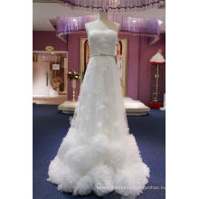Strapless Ruffled Beading A Line Evening Bridal Gown Wedding Dress