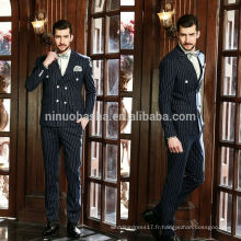 Exquissez des combinaisons de mariage à rayures bleues 2014 pour les hommes avec un filet à deux rangées d'accentuation de l'accent grâce aux tenues d'affaires du dernier style NB0561