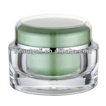Frasco de creme cosmético acrílico colorido oval da forma luxuosa