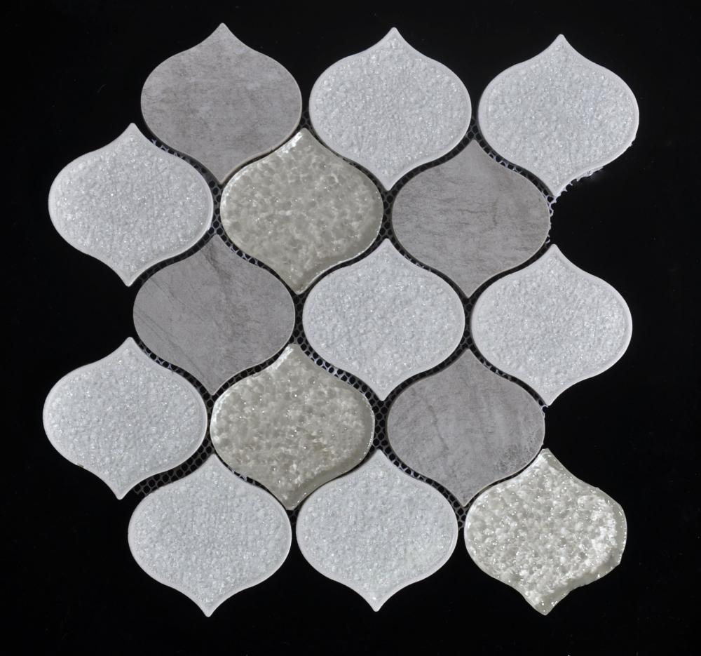White Lantern Shape Crystalline Surface Mosaic