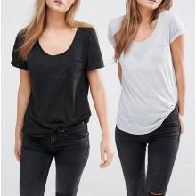 Bolso barato do jérsei da forma do poliéster no Tshirt dianteiro do T das mulheres