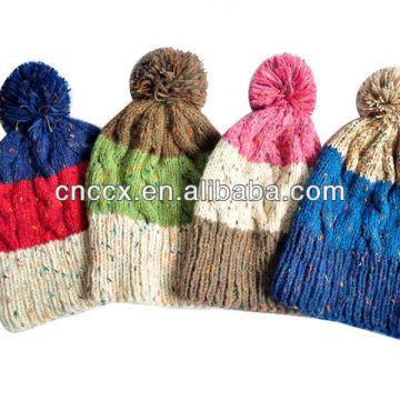 PK17ST169 pom pom knit beanie hat
