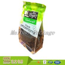 Kundengebundenes klares Lebensmittel Pacakging lamelliertes Material Bopp-flache Block-quadratische untere Taschen mit Seitenkeil