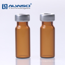 China manufacturer 11mm Crimp autosampler amber glass 1.8ml hplc vial with label for Agilent