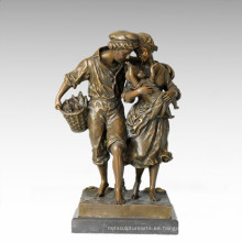 Estatua de la vida oriental Estatua de bronce de la familia de la granja Escultura TPE-335